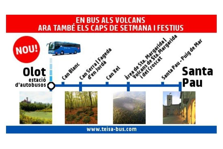 Volcano bus to Santa Pau